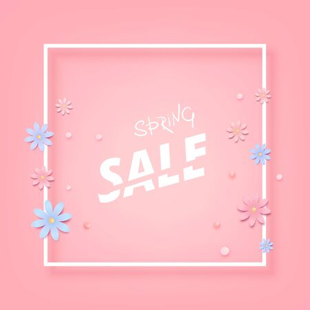 Spring sale square pink banner with frame and flowers. Template for advertising. Element for graphic design - poster, brochure, card vector illustration. Çizim
