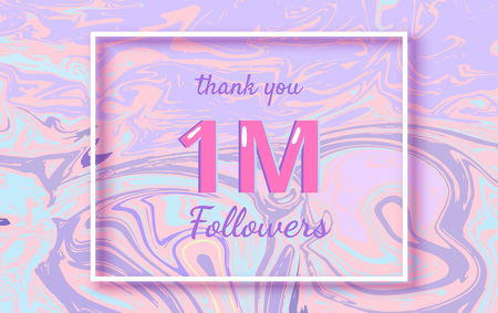 1M followers thank you horizontal banner with liquid background. Template for social media post, cover for graphic design. Ultra violet palette colors, one million follower vector illustration. Illustration