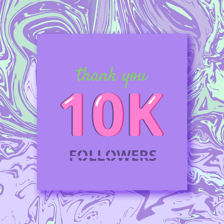 10K followers thank you square banner with liquid background and frame. Template for social media post cover for graphic design. Ultra violet palette colors, 10000 followers vector illustration. Stock Illustratie