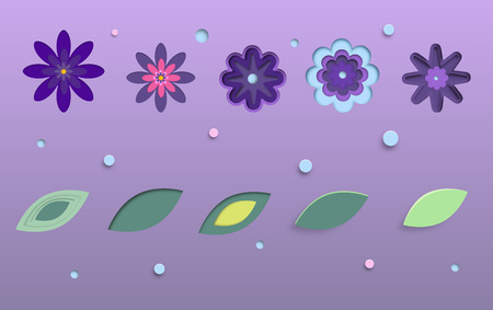 Set of flowers and leaves isolated. Paper cut out stile, ultra violet palette colors. Elements for graphic design vector illustration.