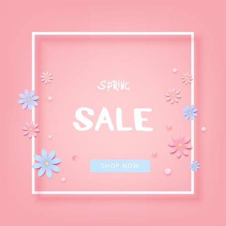 Spring sale banner with frame and flowers template for advertising. Element for graphic design - poster, flyer, brochure, card vector illustration.