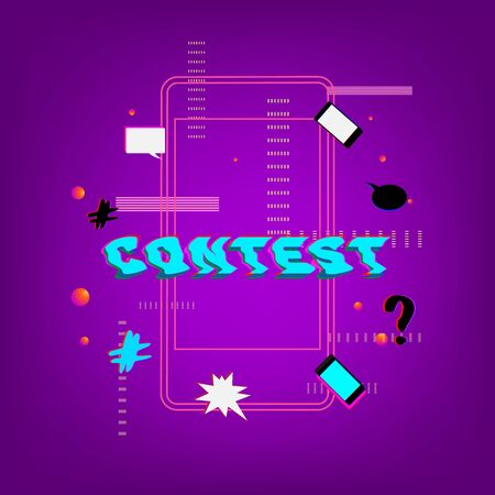 Contest banner with random items on violet background. Glitch chromatic aberration trendy effect.  Element for graphic design - poster, flyer, brochure, card. Template for social media. Vector Illustration.
