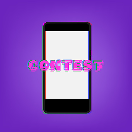 Contest broken lettering with phone. Glitch chromatic trendy effect. Element for graphic design poster, flyer, brochure, card. Template for social media. Vector Illustration. Vectores
