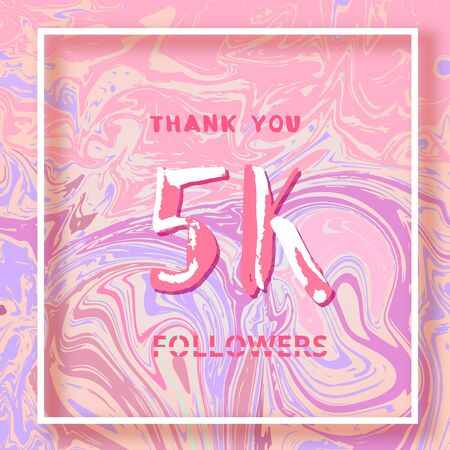 5K Followers thank you square banner with liquid background and frame. Template for social media post. Cover for graphic design. Ultra violet palette colors. 5000 followers. Vector illustration.