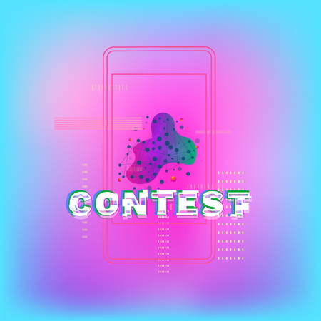 Contest banner with random items. Glitch chromatic aberration trendy effect.  Cover for graphic design. Template for social media. Vector Illustration.