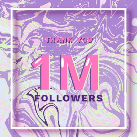 1M Followers thank you square banner with liquid background and frame. Template for social media. Cover for graphic design. Ultra violet palette colors. One million followers. Vector illustration.