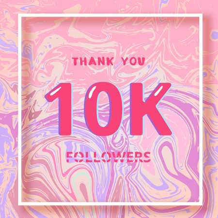 10K Followers thank you square banner with liquid background and frame. Template for social media post. Cover for graphic design. Ultra violet palette colors. 10000 followers. Vector illustration. Illustration