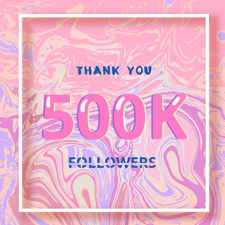 500K Followers thank you square banner with liquid background and frame. Template for social media post. Cover for graphic design. Ultra violet palette colors. 500000 followers. Vector illustration. Stock Illustratie