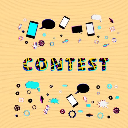 Contest lettering with random items. Glitch chromatic aberration trendy effect.  Cover for graphic design. Template for social media. Vector Illustration.