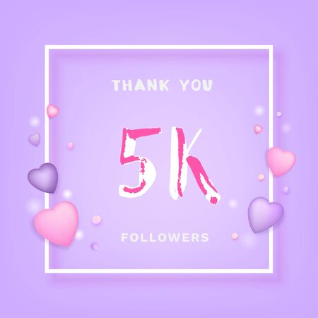 5K Followers thank you phrase with frame and hearts. Template for social media post. Handwritten letters. 5000 subscribers banner. Vector illustration. Stock Illustratie