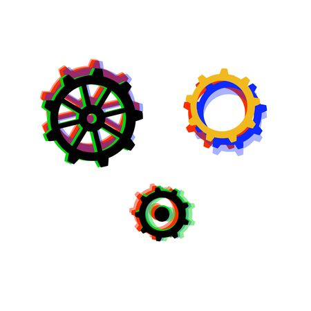 Collection of gears with chromatic defect style. Distorted glitch effect. Element for graphic design - poster, brochure, card, tag, sticker, badge. Vector illustration. Ilustração