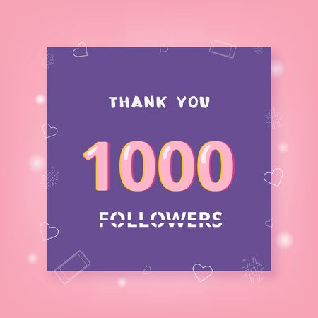 1000 Followers thank you banner with frame and hearts. Template for social media post. Element for graphic design - poster, flyer, brochure, card. 1K subscribers. Vector illustration. Stock Illustratie