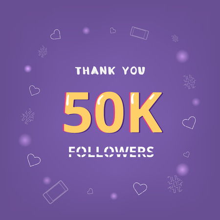 50K Followers thank you square banner with items round frame. Ultra violet palette colors. Element for graphic design. Template for social media post. Vector illustration.