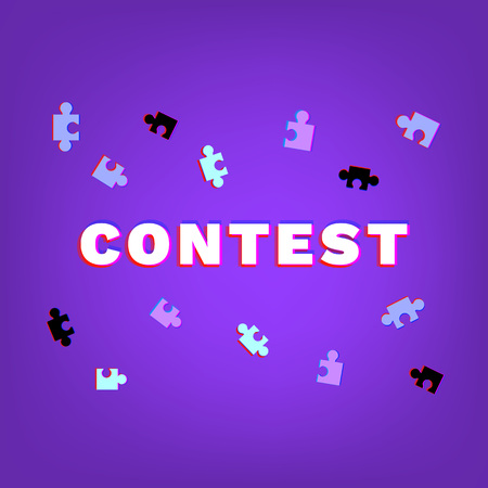 Contest lettering. Element for graphic design - poster, brochure, card. Glitch chromatic aberration trendy effect. Template for social media. Vector Illustration.