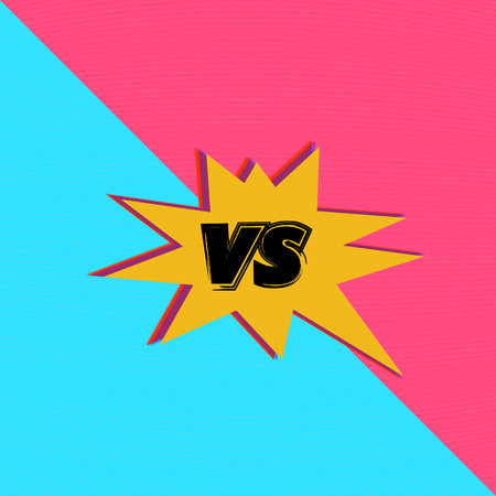 VS screen. Versus sign on divided background. Pop art retro style. Decorative battle cover with lettering. Template for banner, poster, brochure, card. Vector illustration.