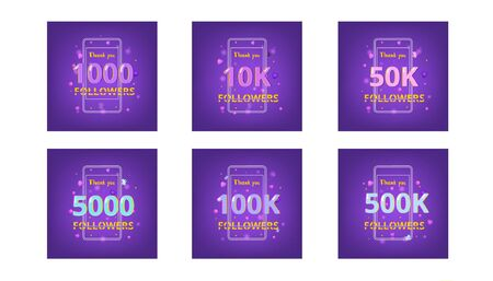 Set of Followers thank you phrases . Templates for social media post. Glitch chromatic aberration style. Ultra violet palette colors.  Vector illustration.