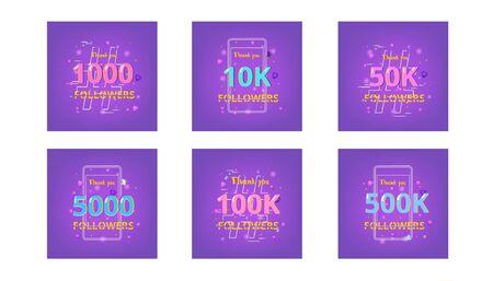Set of templates for social media post. Followers thank you banners. Vector illustration. Vektorové ilustrace