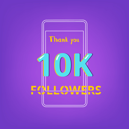 10K Followers thank you phrase with random items. Template for social media post. Glitch chromatic aberration style. Ultra violet palette colors. 10K subscribers banner. Vector illustration.