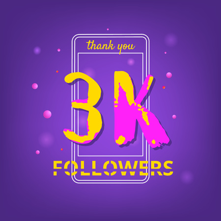 3K Followers thank you phrase with random items. Template for social media post. Handwritten letters. Ultra violet palette colors. 3000 subscribers banner. Vector illustration.