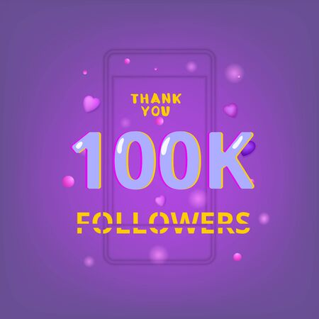 100K Followers thank you phrase with random items. Cover for social media. Glitch chromatic aberration style.  100000 subscribers banner. Vector illustration. Ilustração