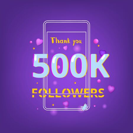 500K Followers thank you phrase with random items. Template for social media post. Ultra violet palette colors. 500000 subscribers banner. Vector illustration.
