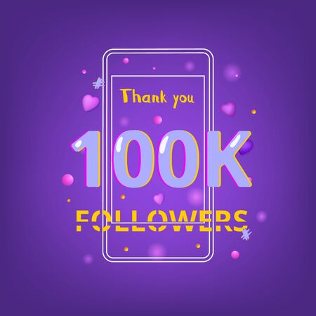 100K Followers thank you phrase with random items. Template for social media post. Glitch chromatic aberration style. Ultra violet palette colors. 100K subscribers banner. Vector illustration. Ilustração