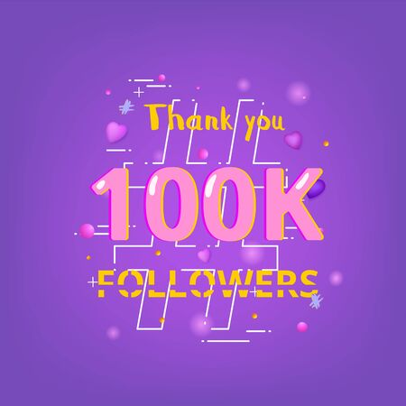 100K Followers thank you phrase with random items. Template for social media post. Glitch chromatic aberration style.  100000 subscribers banner. Vector illustration. Ilustração