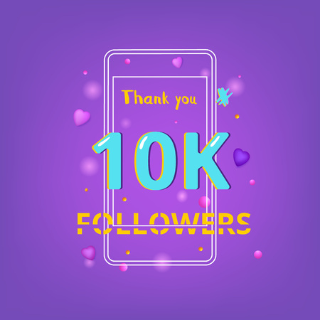10K Followers thank you phrase with random items. Template for social media post. Chromatic aberration style. Ultra violet palette colors. 10000 subscribers banner. Vector illustration. Vectores