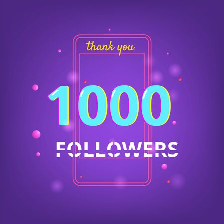1K Followers thank you phrase with random items. Template for social media post. Glitch chromatic aberration style. Ultra violet palette colors. 1000 subscribers banner. Vector illustration.