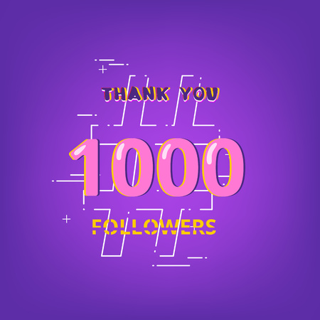 1000 Followers thank you phrase with random items. Template for social media post. Glitch chromatic aberration style. Ultra violet palette colors. 1K subscribers banner. Vector illustration.