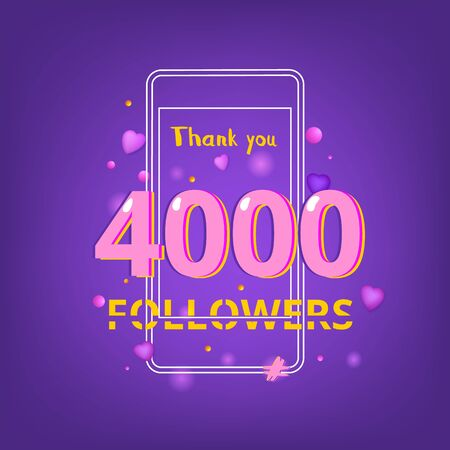 4000 Followers thank you phrase with random items. Template for social media post. Glitch chromatic aberration style. Ultra violet palette colors. 4K subscribers banner. Vector illustration.