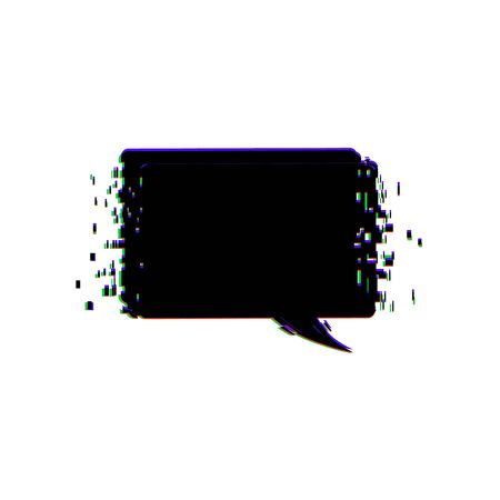 Flat promotion banner. Empty bubble. Distorted glitch and chromatic aberration trendy effect. Element for graphic design. Vector illustration.