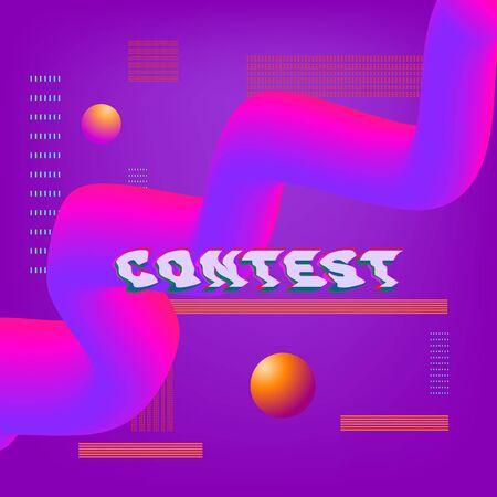 Contest banner with random items. Violet background with liquid shapes.  Element for graphic design - poster, flyer, brochure, card. Template for social media. Vector Illustration. Ilustração