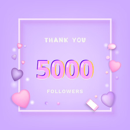 5000 Followers thank you banner with frame and hearts. Template for social media post. 5K subscribers.