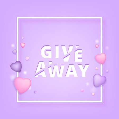 Giveaway square banner. Sliced text effect. Template for social media post. Element for graphic design - poster, flyer, card, tag, badge.  Vector illustration.  イラスト・ベクター素材