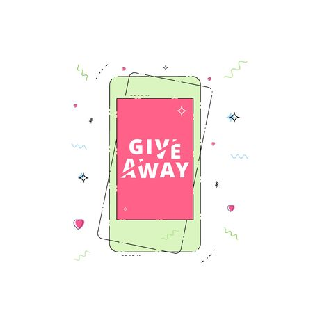 Giveaway geometric banner with phone. Sliced text effect. Template for social media. Element for graphic design.
