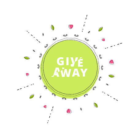 Giveaway round banner with frame. Sliced text effect. Template for social media. Element for graphic design. Illustration