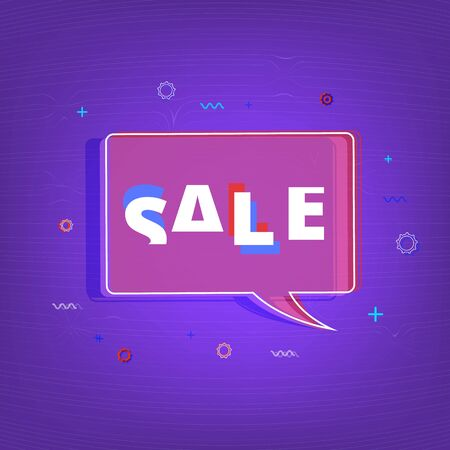 Sale banner. Sale text on geometric bubble with random decorative shapes. Element for graphic design - poster, flyer, brochure, card, tag, sticker, badge. Vector illustration. Ilustração