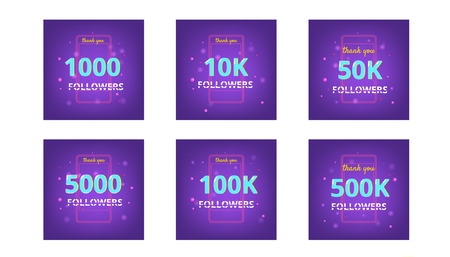 Collection of Followers thank you banners.  Covers for social media. Chromatic aberration text style. Subscribers. Vector illustration. Stock Illustratie