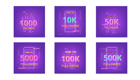 Set of templates for social media post. Ultra violet palette colors. Followers thank you banners. Vector illustration.