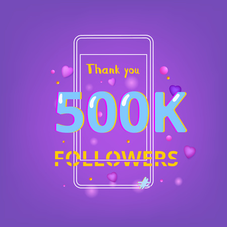 500K Followers thank you phrase with random items. Template for social media post. Glitch chromatic aberration style. Ultra violet palette colors. 500000 subscribers banner. Vector illustration.