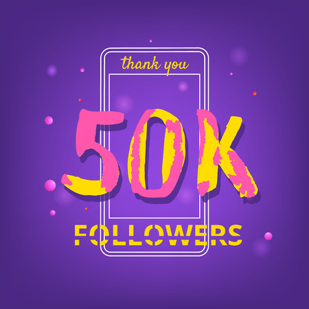 50K Followers thank you phrase with random items. Template for social media post. Handwritten letters. Ultra violet palette colors. 50000 subscribers banner. Vector illustration.