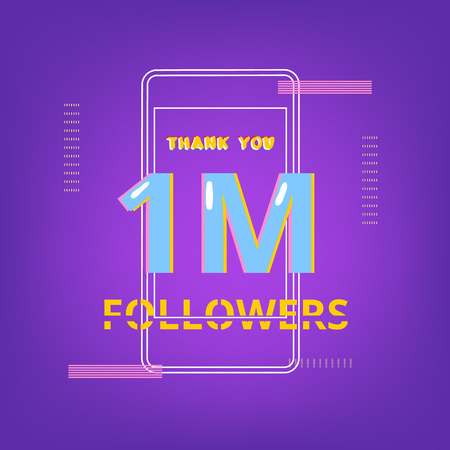 1M Followers thank you phrase with random items. Template for social media post. Glitch chromatic aberration style. Ultra violet palette colors. One Million subscribers banner. Vector illustration.