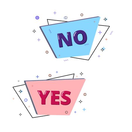 Yes and No lettering on geometric 3d banners with random decorative shapes. Element for graphic design - poster, flyer, brochure, card, tag, sticker, badge. Vector illustration. 向量圖像