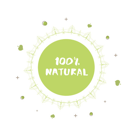 100 Natural Round Label With Random Decorative Shapes And Frame