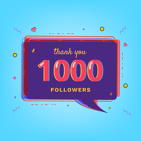 Thank you 1000 followers card. Template for Social Network.