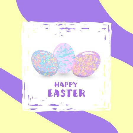 Happy Easter banner with colorful eggs. Illustration