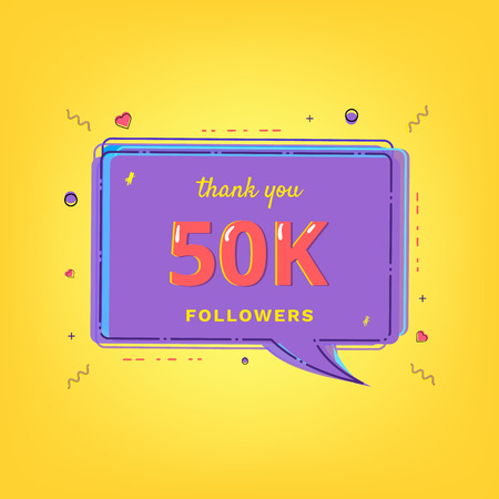 50K Followers thank you message with speech bubble and random items.