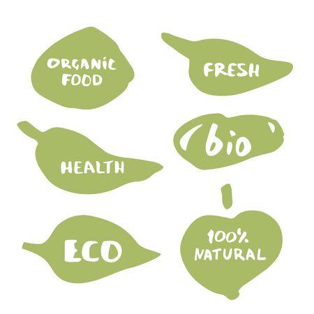 Set of Organic Food doodle banners.
