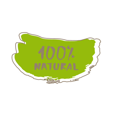 100% Natural handwritten lettering on abstract doddle shape. Hand drawn vector badge.
